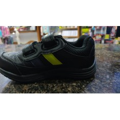 Mayoor School Shoe Velcro Black & Green