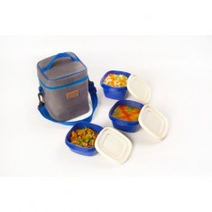Lunch Bag, Smart Denim, 1 600ml box, 1 500ml box, 1 335ml box, Green
