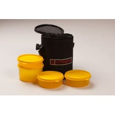 Cutting Edge Yellow Lunch Boxes With Warmer Bag, Set of 4, Yellow