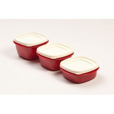 Cutting Edge Snap Tight Food Storage Container Red, Set Of 3, Blossom Red