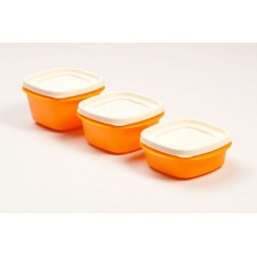Cutting Edge Snap Tight Food Storage Container Orange, Set Of 3, Candy Orange