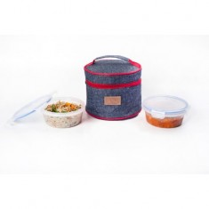 Lunch Bag, Smart Denim, 2 500ml containers, Black