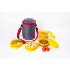 Lunch Bag, Smart Denim, 1 500ml, 2 300ml box, 1 200ml container, Red