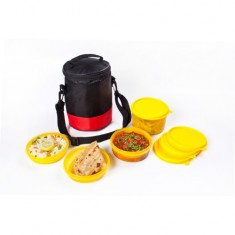 Lunch Bag, Easy Wipe Off, 1 500ml, 2 300ml, 1 200ml container, Red & Black