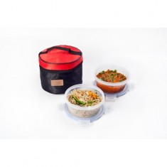 Lunch Bag Premium, Easy Wipe Off, 2 500ml containers, Black & Red