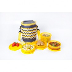 Printed Lunch Bag, 1 500ml, 2 300ml, 1 200ml container, Yellow