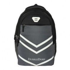 Dussle Dorf Polyester 28 Liters Light Weight Casual Backpack/School Bag (Black and Grey)