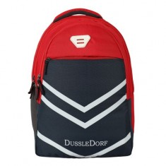Dussle Dorf Polyester 28 Liters Light Weight Casual Backpack/School Bag (Red and Navy Blue)