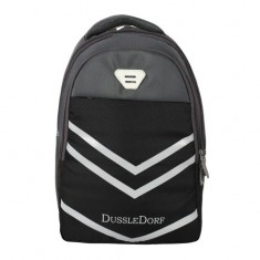 Dussle Dorf Polyester 28 Liters Light Weight Casual Backpack/School Bag (Grey and Black)