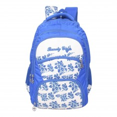 Beauty Girl Polyester 30 Liters Waterproof Best School, College, Tution, Casual Trip Tour Backpack Shoulder Bag for Boys & Girls with Rain Cover (White Blue)
