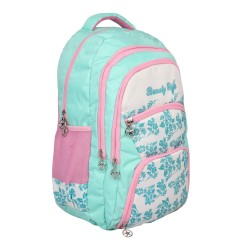 Beauty Girl Polyester 30 Liters Waterproof Best School, College, Tution, Casual Trip Tour Backpack Shoulder Bag for Boys & Girls with Rain Cover (LightGreen White)
