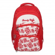 Beauty Girl Polyester 30 Liters Waterproof Best School, College, Tution, Casual Trip Tour Backpack Shoulder Bag for Boys & Girls with Rain Cover (Red White)