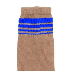 Beige socks with Blue stripe