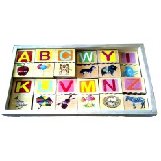 Alphabet Picture Block Tiles With Storage Box