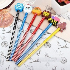 Stationery(6 Pcs. Pencils With Funky Eraser Tops)
