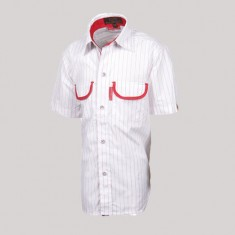 MAX SHIRT H/S BOYS WHITE-RED STRIPE POLY COTTON