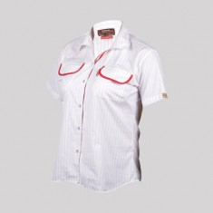 MAX SHIRT H/S GIRLS WHITE-RED STRIPE POLY COTTON