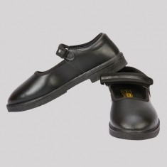 Rex Black Head Girl School Shoe