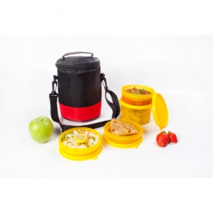Lunch Bag, Easy Wipe Off, 1 500ml, 2 300ml, 1 200ml container, Black & Red