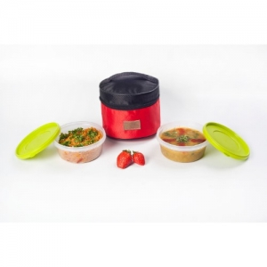 Lunch Bag Executive, Easy Wipe Off, 2 500ml Containers with Silicone Seal, Red & Black