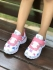 KazarMax Kid's White & Pink Butterfly Printed Sports Shoes